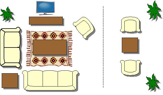 floor plan rectangle 10 10 07 - Rectangular Living Room